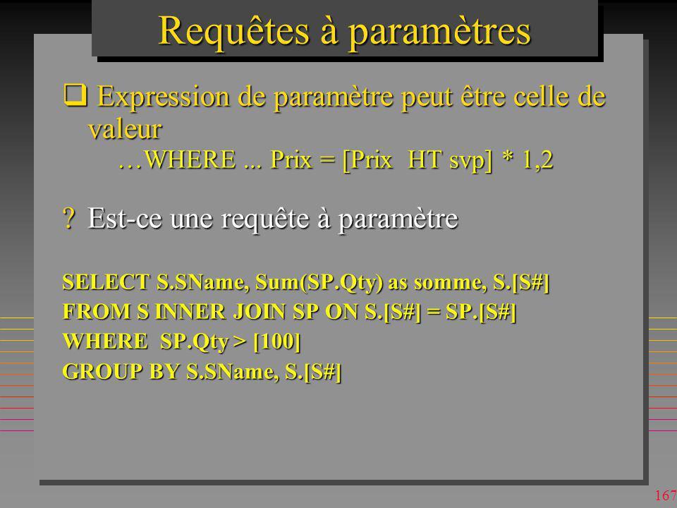 Requêtes à paramètres Expression de paramètre peut être celle de valeur. …WHERE ... Prix = [Prix HT svp] * 1,2.